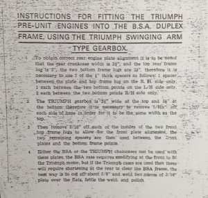 TRIUMPH DYNAMO ENGINE TO BSA FRAME CONVERSION PLATES BRACKETS